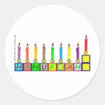 Hanukkah Children's blocks menorah Round Stickers