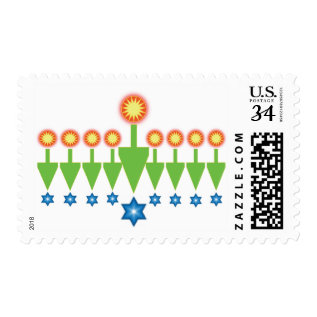Hanukkah Christmas Chrismukkah Postcard Stamps at Zazzle
