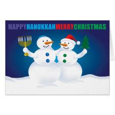 Hanukkah Christmas Snowmen Card at Zazzle