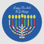 """Hanukkah Colorful Menorah Hanukiah Classic Round Sticker<br><div class=""""desc"""">Colorful, Happy Chanukah, Hanukiah Stickers Round. Have fun using these stickers as cake toppers, gift tags, envelope seals, favor bag closures, or whatever rocks your festivities! Personalize by deleting text and adding your own words, using your favorite font style, size, and color. Background color can be changed out, too! Thanks...</div>"""
