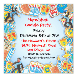 Hanukkah Cookie Party Invitation at Zazzle