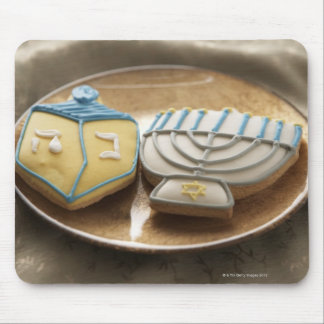 Hanukkah cookies on plate, elevated view mouse pad