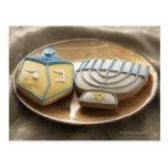 Hanukkah cookies on plate, elevated view post card