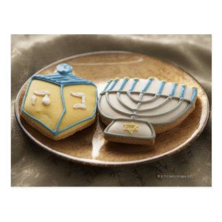 Hanukkah cookies on plate, elevated view postcard
