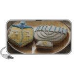 Hanukkah cookies on plate, elevated view travelling speaker
