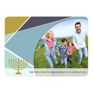 Hanukkah Criss Cross Menorah Star Holiday Party Card