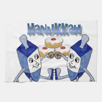 Hanukkah Dancing Dreidels and Jelly Doughnuts Kitchen Towel