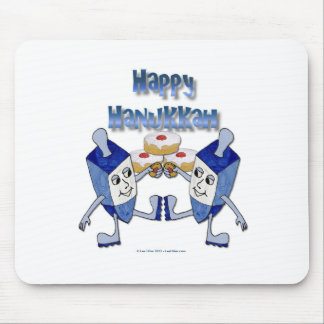 Hanukkah Dancing Dreidels and Jelly Doughnuts Mouse Pad