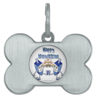 Hanukkah Dancing Dreidels and Jelly Doughnuts Pet ID Tag