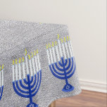 "Hanukkah Dark Blue Menorah Silver Home Decor Tablecloth<br><div class=""desc"">Elegant medium size 60 inch by 84 inch silver fabric look tablecloth with a border of dark navy blue Hanukiahs with white candles. Check my shop for coordinating party plates, serving platters, napkins and other Happy Chanukkah decor. This original art design will spice up the Hanukkah party table or family...</div>"