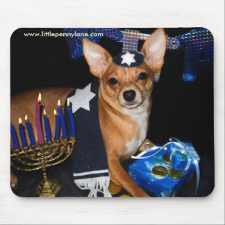 Hanukkah Dog Color Mousepad by Little Penny Lane