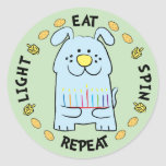 """Hanukkah Dog Stickers """"Light, Eat, Spin, Repeat""""<br><div class=""""desc"""">Hanukkah/Chanukah Dog Holiday stickers, """"Light, Eat, Spin, Repeat"""" Anyway I spell it, Chanukah is one of my favorite holidays. Have fun using these stickers as cake toppers, gift tags, favor bag closures, or whatever rocks your festivities! Thanks for stopping and shopping by! Your business is very much appreciated! Happy Hanukkah!...</div>"""