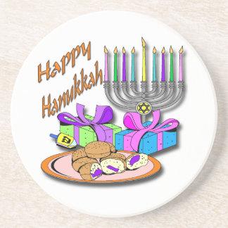Hanukkah - Donuts, Menorah, Dreidel Coaster