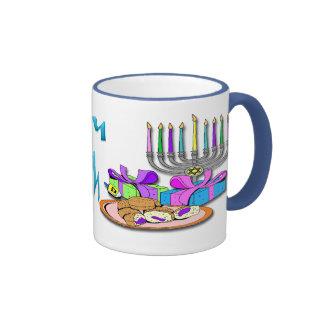Hanukkah - Donuts, Menorah, Dreidel Mug