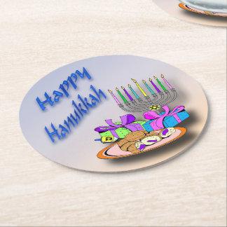 Hanukkah - Donuts, Menorah, Dreidel Paper Coasters