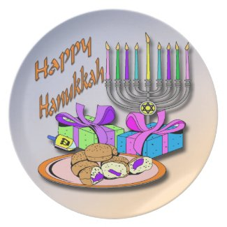 Hanukkah - Donuts, Menorah, Dreidel Plate