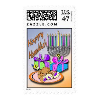 Hanukkah - Donuts, Menorah, Dreidel Postage