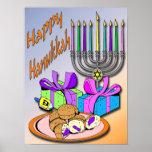 Hanukkah - Donuts, Menorah, Dreidel Poster