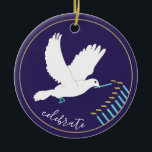 """Hanukkah """"DoveLightsMenorah""""/Circle Ornament<br><div class=""""desc"""">Hanukkah """"Dove Lights Menorah/Gold, Blue""""/Circle Ornament. (2 sided) To Personalize, simply delete the text on the back and front of the ornament, replacing with your own text using your favorite font style, size, and color. Background on back and front of ornament can be changed-out by choosing from the color swatches....</div>"""