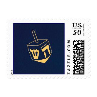 Hanukkah Dreidel Blue and Gold Postage Stamp