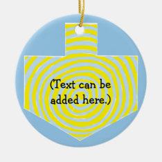Hanukkah Dreidel/blue/yellow Circle Ornament at Zazzle