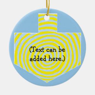 Hanukkah Dreidel/Blue/Yellow Circle Ornament