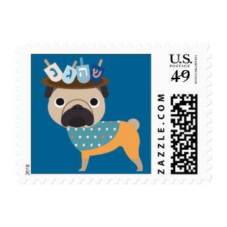 Hanukkah Dreidel Pug (customizable) Postage