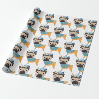 Hanukkah Dreidel Pug (customizable) Wrapping Paper