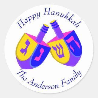 Hanukkah Dreidels Colorful Cheerful Holiday Fun Classic Round Sticker