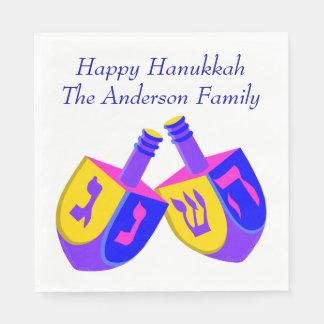 Hanukkah Dreidels Colorful Fun Celebration Party Paper Napkin