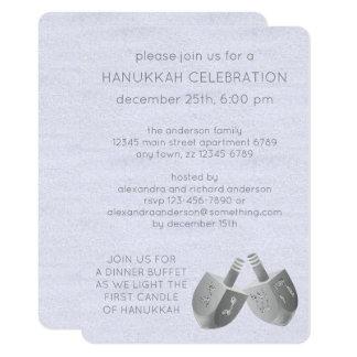 Hanukkah Dreidels Faux Silver Hanukkah Sameach Card