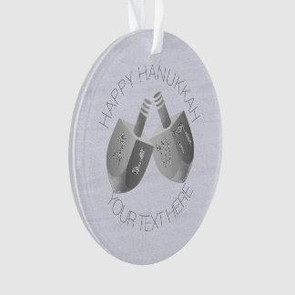 Hanukkah Dreidels Faux Silver Unique Chrismukkah Ornament