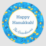 """Hanukkah Dreidels Gift Tag<br><div class=""""desc"""">These fabulous gift tags would look great on all your Hanukkah gifts.  They are so festive with their menorahs,  gelt,  Hanukkah candles and banners and Stars of David in blue and yellow.  Trendy yet traditional.  And,  they are customizable with your family name.</div>"""