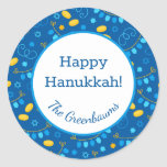 """Hanukkah Dreidels Gift Tag<br><div class=""""desc"""">These fabulous gift tags would look great on all your Hanukkah gifts.  They are so festive with their pattern with dreidels,  menorahs,  Stars of David,  and gelt.  Trendy yet traditional.  And,  they are customizable with your family name.</div>"""