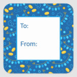 """Hanukkah Dreidels Gift Tag<br><div class=""""desc"""">These fabulous gift tags would look great on all your Hanukkah gifts.  They are so festive with menorahs,  Stars of David,  gelt,  and dreidel banners.  They'll look so cute on your gifts.</div>"""