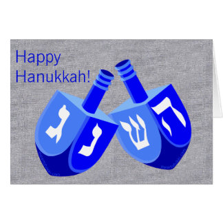 Hanukkah Dreidels In Blue And White Cute Holiday Card