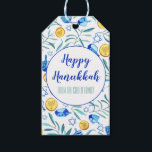 """Hanukkah Driedel Gelt Watercolor Holiday Gift Tags<br><div class=""""desc"""">Hope you like this holiday design. Add your own text to the front or back. Check my shop for more matching items like towels,  stickers,  mugs,  cards,  wrapping paper as well as other holiday patterns. Thanks for shopping with me! if you'd like something custom let me know!</div>"""