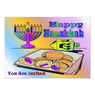 Hanukkah - Food, Dreidel, Menorah Invitation