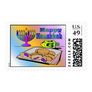 Hanukkah - Food, Dreidel, Menorah Postage