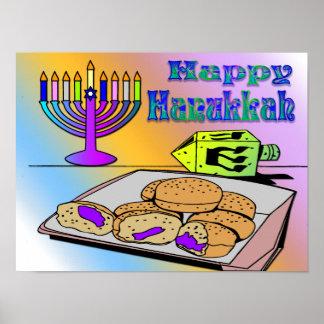 Hanukkah - Food, Dreidel, Menorah Poster