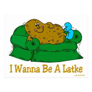 HANUKKAH FUNNY GIFTS 'I WANT TO BE A LATKE' POSTCARD