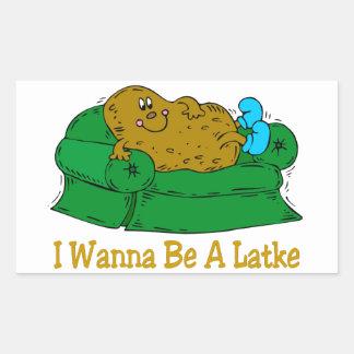 HANUKKAH FUNNY GIFTS 'I WANT TO BE A LATKE' RECTANGULAR STICKER