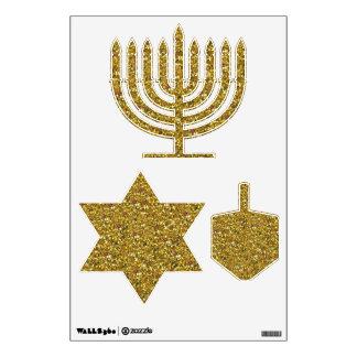 Hanukkah Gold Glitter Wall Decal