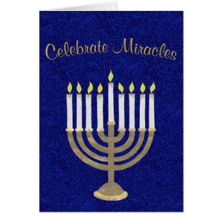 Hanukkah Gold Menorah Celebrate Miracles Elegant Card