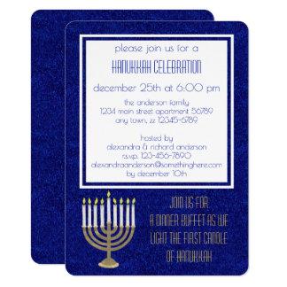 Hanukkah Gold Menorah Hanukkah Sameach Dinner Card