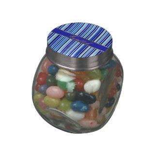 Hanukkah Golden Blue Stripes Jelly Belly Glass Jar Jelly Belly Candy Jars