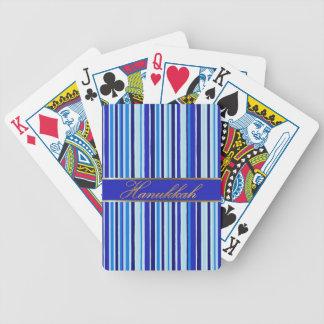 Hanukkah Golden Blue Stripes Playing Cards