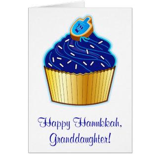 Hanukkah Granddaughter: Cupcake and Dreidel Cookie Greeting Card