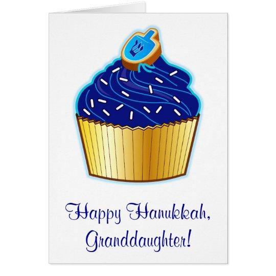 Hanukkah Granddaughter: Cupcake and Dreidel Cookie Card