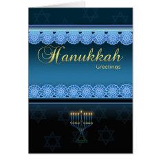 Hanukkah Greetings - Blue Stylish - Hanukkah Card at Zazzle